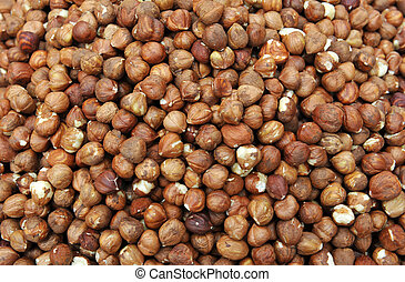 hazelnuts background in a market, in France