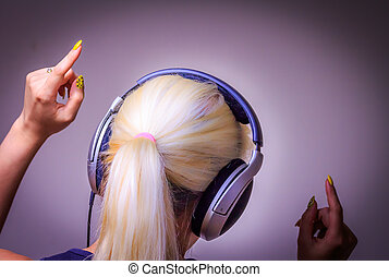 Listening to music dancing girl