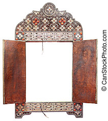 Antique Moroccan mirror frame made of silver and leather,...
