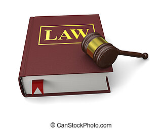 Law book - Gavel and law book isolated on white background,...