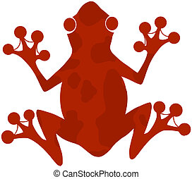Red Spotted Frog Silhouette Logo Cartoon Character
