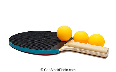 Table tennis racket and balls - Table tennis racket and...