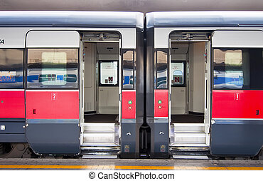 Train - Stationary train with open cars doors