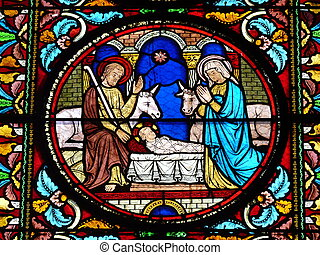 Stained glass window Nativity scene - Stained glass window...
