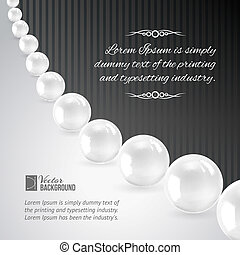 Pearl necklace on black. Vector illustration, contains...