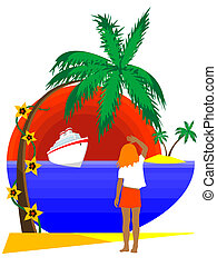 tropical island - The girl on tropical island meets the ship...