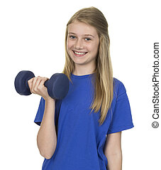 Portrait Of Happy Girl With Weigh Lift Over White Background