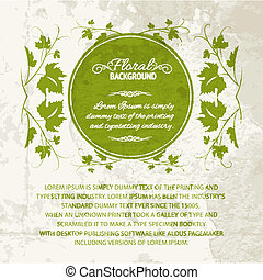 Vine leaf frame - Vine leaf frame, vintage background Vector...