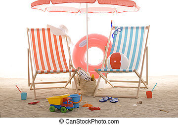 beach chair with colorful sand toys