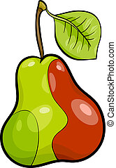 pear fruit cartoon illustration - Cartoon Illustration of...