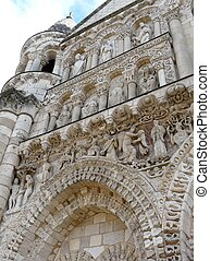Notre Dame Cathedral, Poitiers - Carved exterior of Notre...