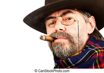 american cowboy smoking cigar on white background