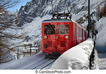 Scenic mountain train in snow