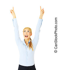 Look! - A picture of a young happy woman pointing at...