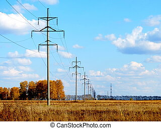 Electric line - The electric line passes through the autumn...