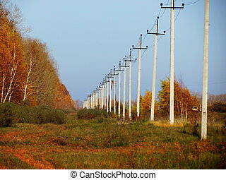 Rural electric line - The rural electric line passes through...