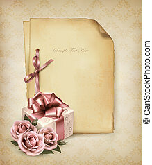 Retro holiday background with pink roses and gift box and...