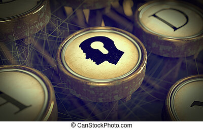 Head With Keyhole on Grunge Typewriter Key. - Head With...