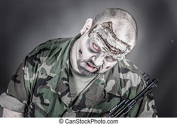 zombie soldier - is a disguised military soldier with a...