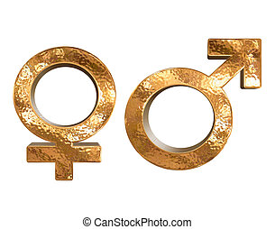 Golden pattern gender sex 3D symbols isolated over white...