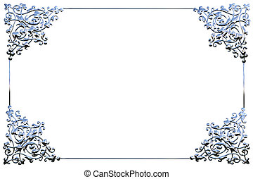 Abstract chrome metal floral frame concept over white...