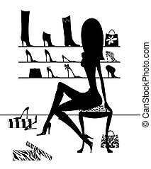 Silhouette Girl Trying On SHoes - Fashion illustration of...