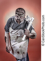 butcher zombie - is a man dressed zombie one with butcher...