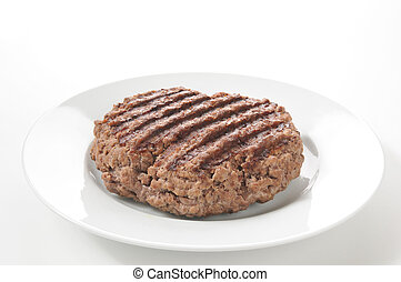 Grilled hamburger patty - A thick grilled ground sirloin...