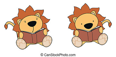 lion baby cartoon reading set in vector format