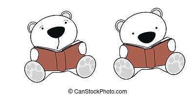 polar bear baby cartoon reading set in vector format