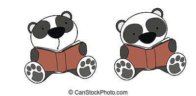 panda bear baby cartoon reading set in vector format