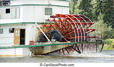 Sternwheeler Churning Moves Riverboat Paddle Steamer Vessel...