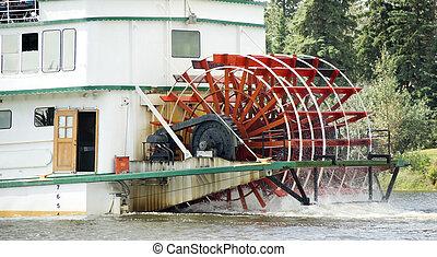 Sternwheeler Churning Moves Riverboat Paddle Steamer Vessel...