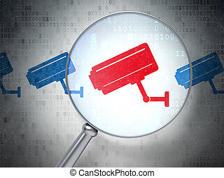 Magnifying optical glass with Cctv Camera icons on digital...