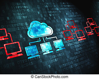 Cloud computing concept: Cloud Technology on digital...