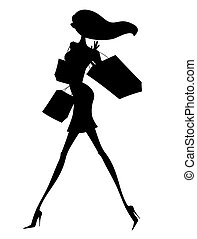 Sexy Young Shopper Silhouette - Silhouette of a chic young...