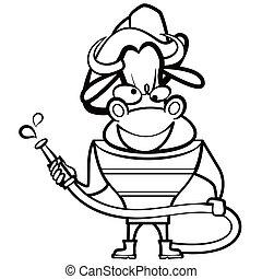 coloring cartoon bull fireman