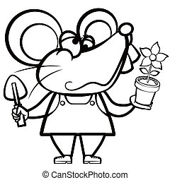 coloring cartoon mouse landscaper with a plant