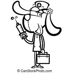 coloring cartoon dog nurse with first aid kit and syringe.