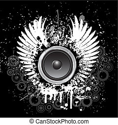 Grunge music background with speaker and wings
