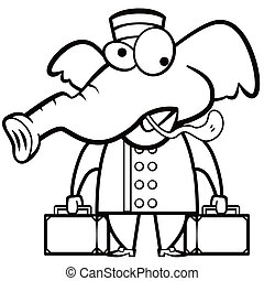 coloring cartoon elephant porter with suitcases.