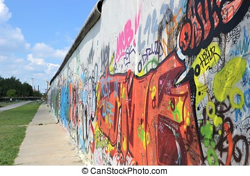 the Berlin Wall - Detail of the Berlin Wall at the East Side...