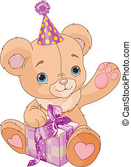 Teddy Bear holding gift - Cute Teddy Bear holding pink gift...