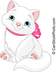 Cute fat cat - Illustration of cute fat cat with pink bow