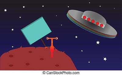 Red Alien Left on Planet.