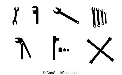 Wrench Set - Collection of simple black wrench...