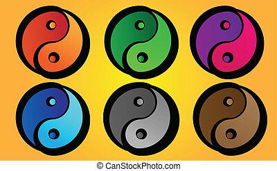Yin and Yang - Set of Yin and Yang symbols with varying...