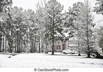 Winter Wonderland - A rual executive home covered with fresh...