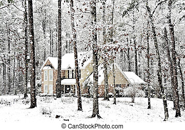 Executive Home - An executive home graced with falling snow...