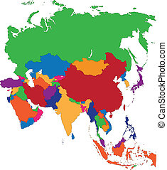 Asia map - Colorful Asia map with countries and capital...